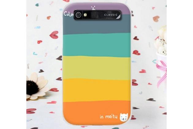 """Фирменная необычная из легчайшего и тончайшего пластика задняя панель-чехол-накладка для BlackBerry Q20 Classic  """"тематика Все цвета Радуги"""""""