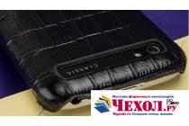 Фирменная роскошная элитная премиальная задняя панель-крышка для BlackBerry Q20 Classic из качественной кожи буйвола коричневая с черной вставкой под кожу рептилии