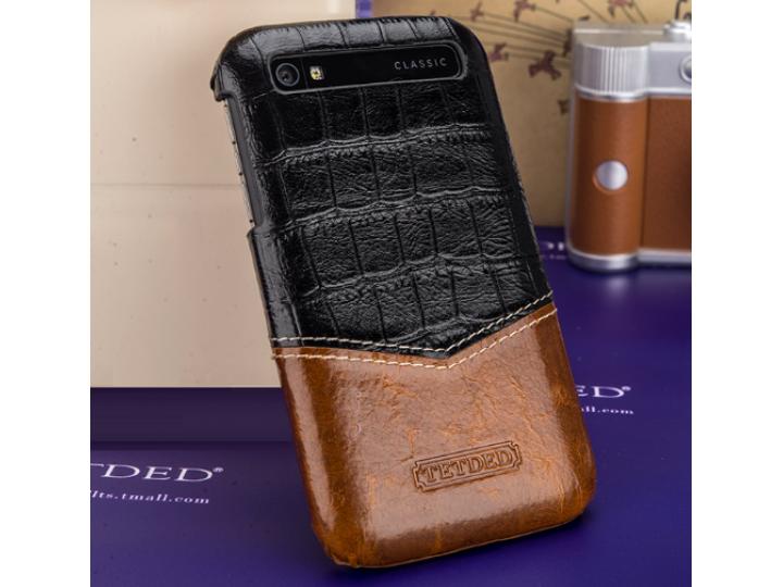 Фирменная роскошная элитная премиальная задняя панель-крышка для BlackBerry Q20 Classic из качественной кожи б..