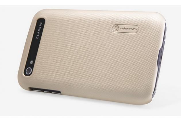 Фирменная задняя панель-крышка-накладка из тончайшего и прочного пластика для BlackBerry Q20 Classic золотая