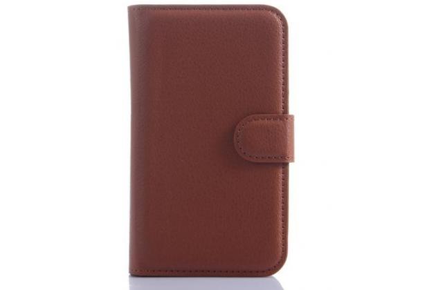 Фирменный чехол-книжка из качественной импортной кожи с мульти-подставкой застёжкой и визитницей для Блэкберри Кью20 Классик коричневый