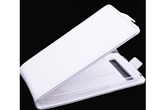 """Фирменный оригинальный вертикальный откидной чехол-флип для BlackBerry Q20 Classic белый кожаный """"Prestige"""" Италия"""