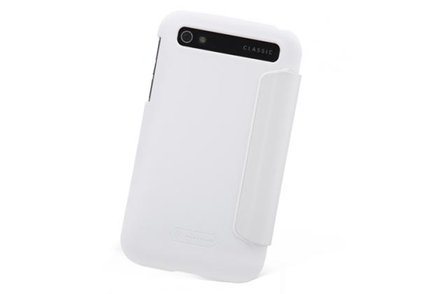 Фирменный умный тонкий чехол Smart-case/Smart-cover c функцией засыпания для BlackBerry Q20 Classic белый пластиковый
