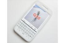 Фирменный оригинальный силиконовый  чехол-пенал для BlackBerry Q20 Classic с 3D клавиатурой и защитой кнопок от пыли и воды белый
