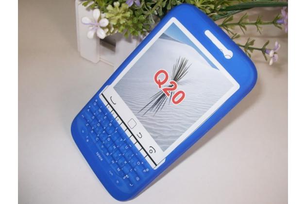 Фирменный оригинальный силиконовый  чехол-пенал для BlackBerry Q20 Classic с 3D клавиатурой и защитой кнопок от пыли и воды синий