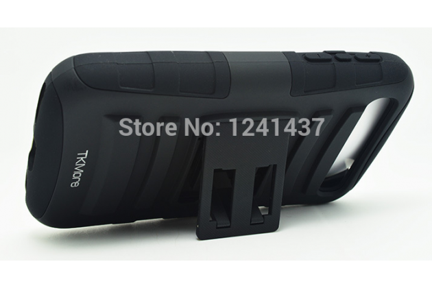 Противоударный усиленный ударопрочный фирменный чехол-бампер-пенал с клипсой на пояс для BlackBerry Q20 Classic черный