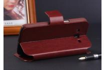 """Фирменный чехол-книжка из качественной импортной кожи с мульти-подставкой застёжкой и визитницей для Блэкберри З3 5.0"""" коричневый"""