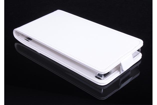 """Фирменный оригинальный вертикальный откидной чехол-флип для Blackberry Z3 5.0"""" белый из натуральной кожи """"Prestige"""" Италия"""
