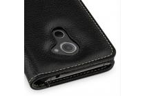 Фирменный умный премиальный элитный чехол-книжка с визитницей из качественной импортной кожи с функцией засыпания для Blackberry DTEK60 черный