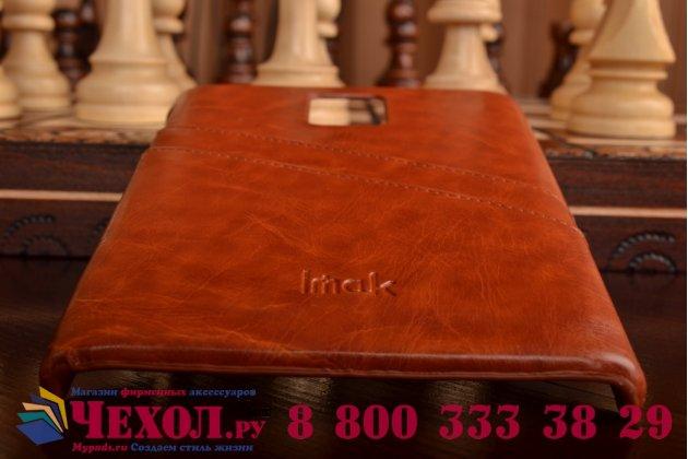 Фирменная роскошная элитная премиальная задняя панель-крышка для Blackberry Passport Q30 из качественной кожи буйвола с визитницей коричневый