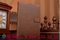 Фирменный премиальный чехол-книжка из качественной импортной кожи с мульти-подставкой застёжкой и визитницей для Blackberry Passport Q30 из натуральной овечьей кожи коричневый