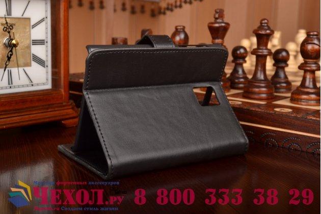 Фирменный премиальный чехол-книжка из качественной импортной кожи с мульти-подставкой застёжкой и визитницей для Blackberry Passport Q30 из натуральной овечьей кожи черный