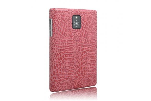 Фирменная роскошная элитная премиальная задняя панель-крышка с визитницей и мульти-подставкой обтянутая кожей под крокодила для Blackberry Passport Q30 королевский розовый
