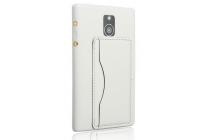 Фирменная роскошная элитная премиальная задняя панель-крышка с визитницей и мульти-подставкой обтянутая импортной кожей для Blackberry Passport Q30 королевский белый