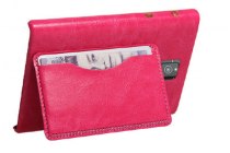 Фирменная роскошная элитная премиальная задняя панель-крышка с визитницей и мульти-подставкой обтянутая импортной кожей для Blackberry Passport Q30 королевский розовый