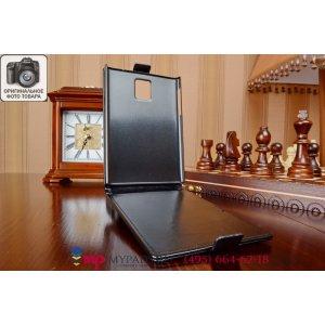 """Фирменный оригинальный вертикальный откидной чехол-флип для Blackberry Passport Q30 черный из качественной импортной кожи """"Prestige"""" Италия"""