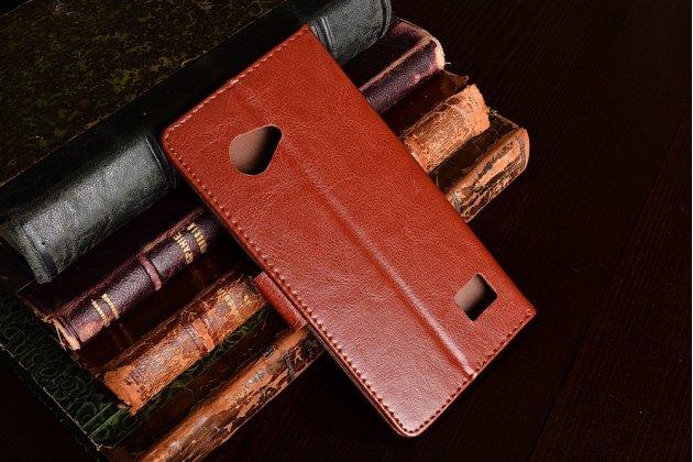 Фирменный чехол-книжка из качественной импортной кожи с подставкой застёжкой и визитницей для Blackview BV6000 коричневый