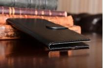 Фирменный чехол-книжка из качественной импортной кожи с подставкой застёжкой и визитницей для Blackview BV6000 черный
