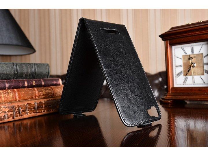 Фирменный оригинальный вертикальный откидной чехол-флип для Blackview A8 Max черный из натуральной кожи Presti..