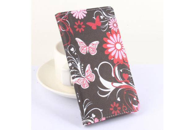 Фирменный уникальный необычный чехол-книжка для Blackview BV5000  тематика радужные Бабочки