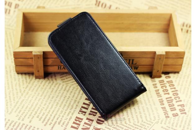 Фирменный оригинальный вертикальный откидной чехол-флип для Blackview R6 черный из натуральной кожи Prestige
