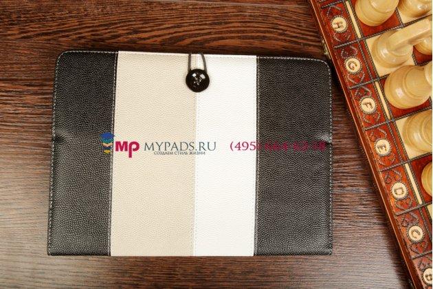 Чехол-обложка для Bliss Pad M9727 черный с серой полосой кожаный