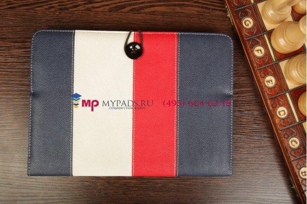 Чехол-обложка для Bliss Pad R9735 синий с красной полосой кожаный