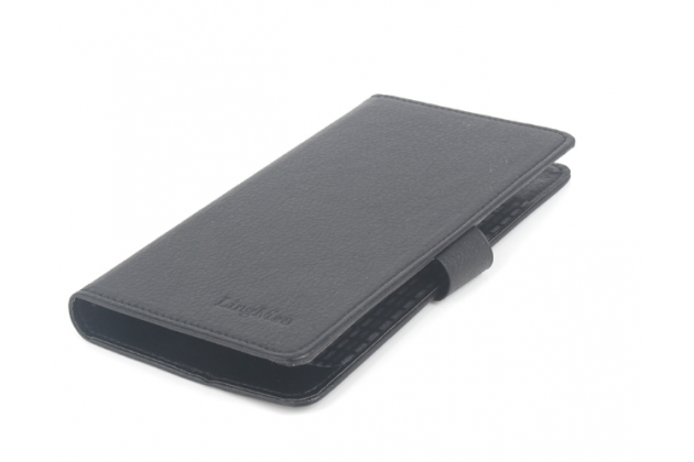 """Фирменный чехол-книжка для Bluboo Maya 5.5"""" с визитницей и мультиподставкой черный кожаный"""