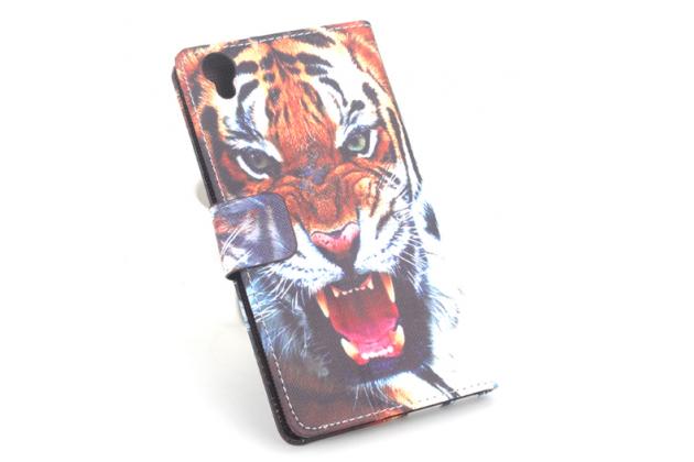 """Фирменный уникальный необычный чехол-книжка на Bluboo Maya 5.5"""" """"тематика Тигр"""""""