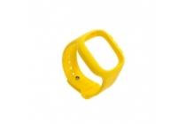 Фирменный необычный сменный силиконовый ремешок  для умных смарт-часов Smart Baby Watch Q60 желтый