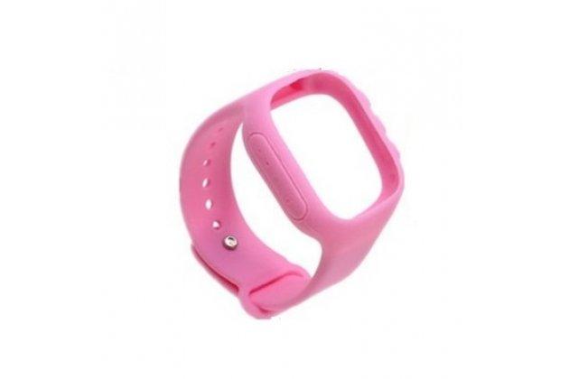 Фирменный необычный сменный силиконовый ремешок  для умных смарт-часов Smart Baby Watch Q60 розовый