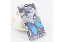 """Фирменный уникальный необычный чехол-книжка для CUBOT X9 """"тематика радужные Бабочки"""""""