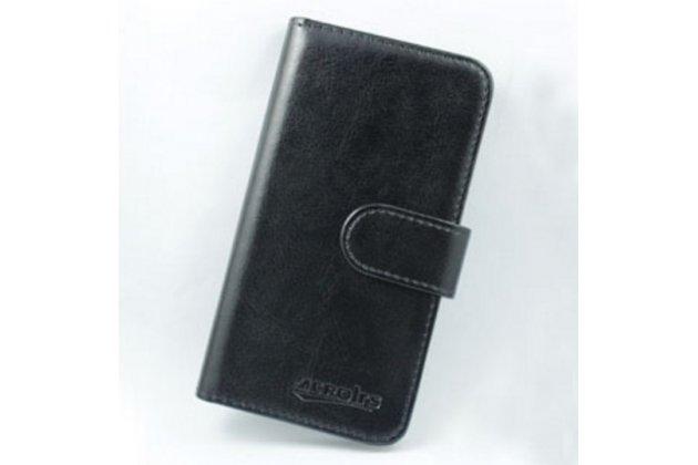 Фирменный чехол-книжка для CUBOT GT90 с визитницей и мультиподставкой черный кожаный