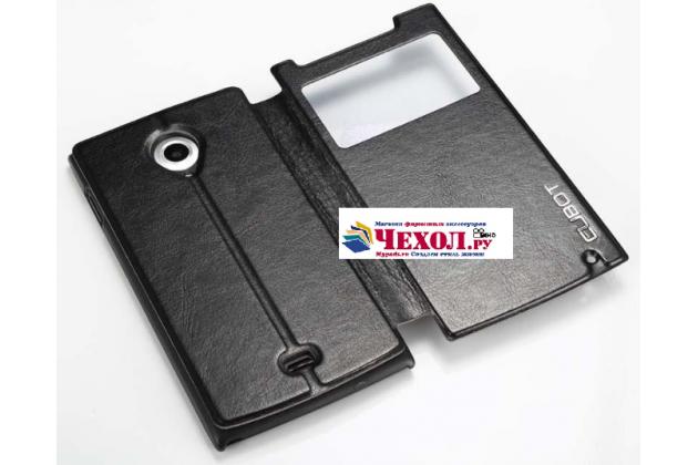 Фирменный оригинальный чехол-книжка для  CUBOT X6 черный с окошком для входящих вызовов водоотталкивающий
