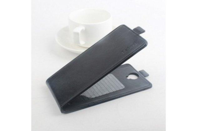 """Фирменный оригинальный вертикальный откидной чехол-флип для Cubot X6 черный из натуральной кожи """"Prestige"""" Италия"""