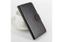 Фирменный чехол-книжка из качественной импортной кожи с подставкой застёжкой и визитницей для Кубот П11 черный