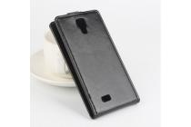 """Фирменный оригинальный вертикальный откидной чехол-флип для Cubot P11 черный кожаный """"Prestige"""" Италия"""