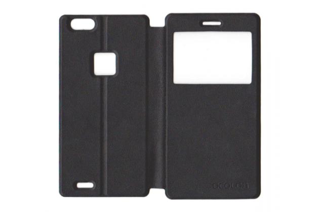 Фирменный оригинальный чехол-книжка для  CUBOT S550 черный с окошком для входящих вызовов водоотталкивающий