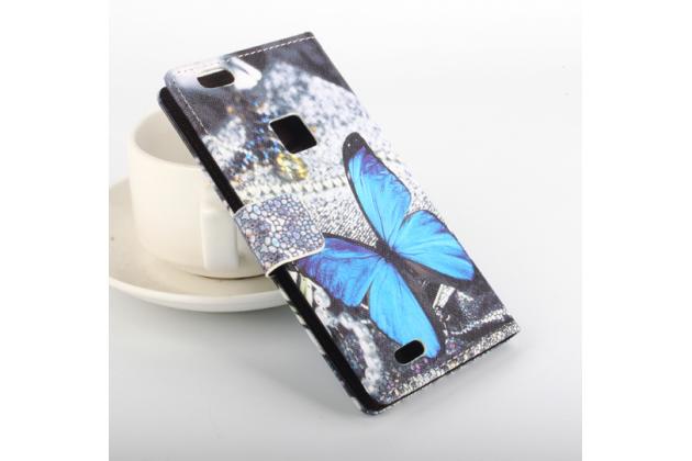 """Фирменный уникальный необычный чехол-книжка для Huawei Nova """"тематика радужные Бабочки"""""""