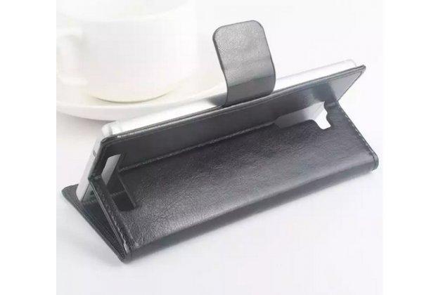 Фирменный чехол-книжка из качественной импортной кожи с мульти-подставкой застёжкой и визитницей для Кубот Икс 12 черный