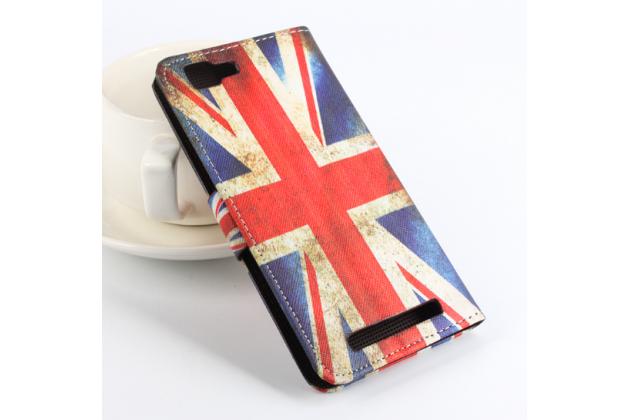 """Фирменный уникальный необычный чехол-книжка для CUBOT X12 """"тематика Британский флаг"""""""