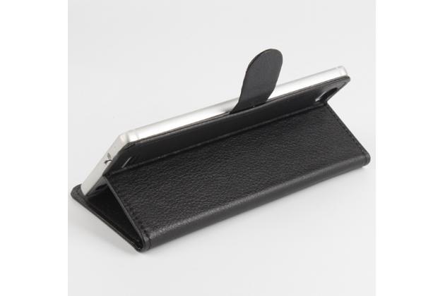 Фирменный чехол-книжка для CUBOT X17 с визитницей и мультиподставкой черный кожаный