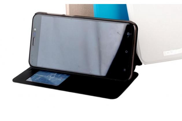 Фирменный оригинальный чехол-книжка для  Cubot Note S черный с окошком для входящих вызовов водоотталкивающий