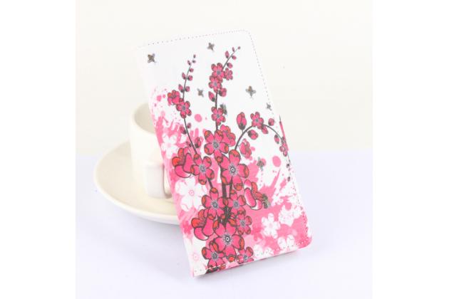 """Фирменный уникальный необычный чехол-книжка с визитницей кармашком для Cubot X15""""  """"тематика цветок вишни"""""""