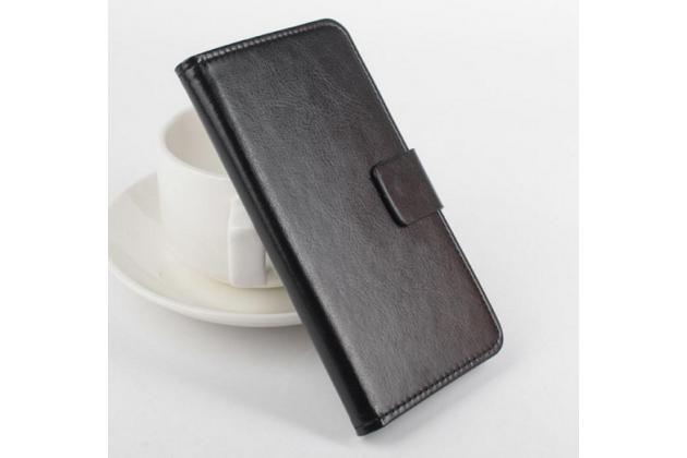 """Фирменный чехол-книжка из качественной импортной кожи с подставкой застёжкой и визитницей для Кубот Х16 / Х17 5,0"""" черный"""