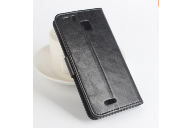 Фирменный чехол-книжка из качественной импортной кожи с подставкой застёжкой и визитницей для Кубот С600  черный