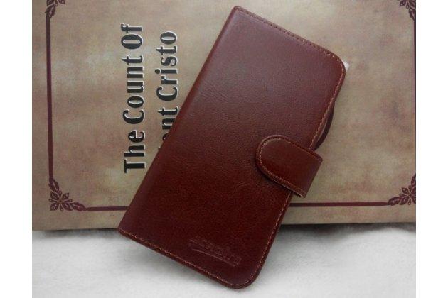 Фирменный чехол-книжка из качественной импортной кожи с подставкой застёжкой и визитницей для CUBOT P10 коричневый