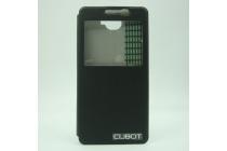 Фирменный оригинальный чехол-книжка для  CUBOT S168 черный с окошком для входящих вызовов водоотталкивающий