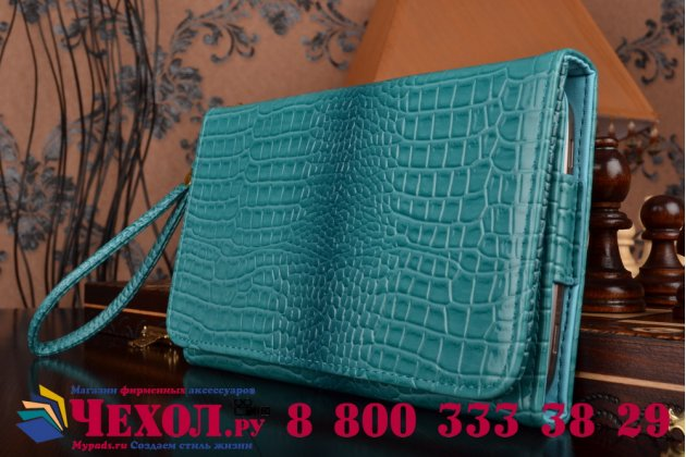 Фирменный роскошный эксклюзивный чехол-клатч/портмоне/сумочка/кошелек из лаковой кожи крокодила для планшетов TeXet TM-7045. Только в нашем магазине. Количество ограничено.