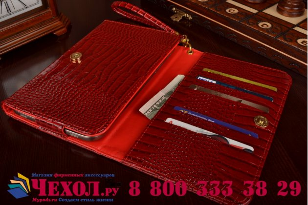 Фирменный роскошный эксклюзивный чехол-клатч/портмоне/сумочка/кошелек из лаковой кожи крокодила для планшетов teXetTM-8056. Только в нашем магазине. Количество ограничено.